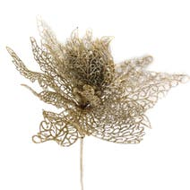 Artificial Champagne Glitter Filigree Poinsettia