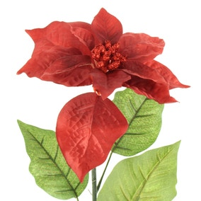 Artificial Red Glitter Poinsettia