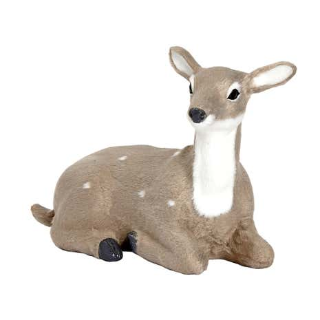 Flocked Lying Deer Room Decoration