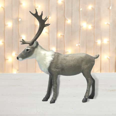 Flock Stag Room Decoration Grey