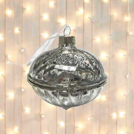 Silver Opal Glass Tree Decoration