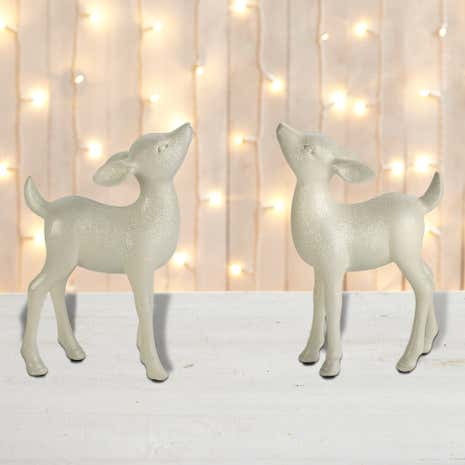 Set of 2 Ivory Fawn Ornaments