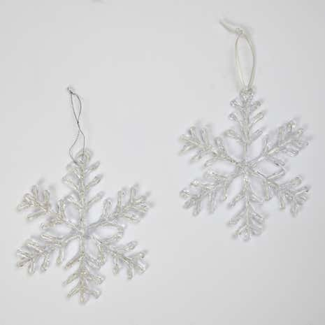 Set of 10 Snowflake Tree Decorations
