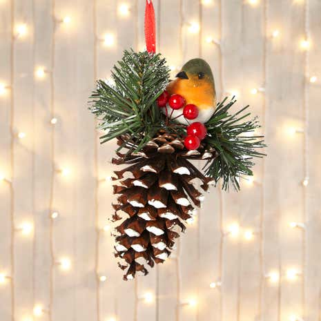Robin Ornament on Large Frosted Ornament