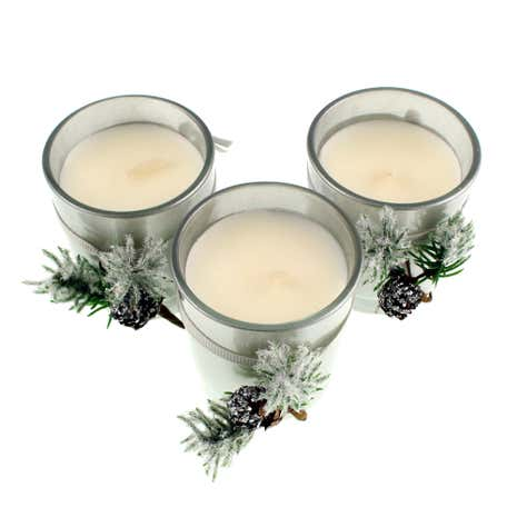 Set of 3 Mercury Glass Votives with Pine