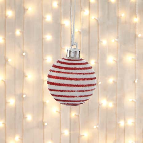 Set of 12 Mini Red Striped Baubles