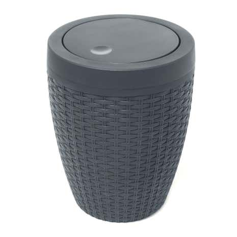 Charcoal Bathroom Accessories Of Addis Rattan Charcoal Bathroom Bin Dunelm