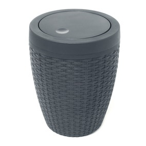 Addis Rattan Charcoal Bathroom Bin
