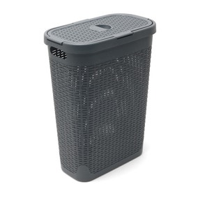 Addis Slim 40L Charcoal Laundry Hamper