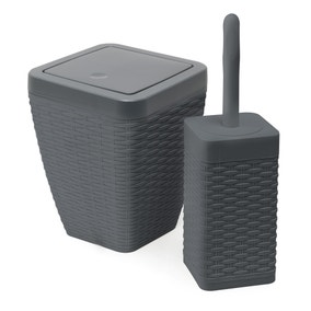 Addis Rattan Charcoal Toilet Brush & Bin Set