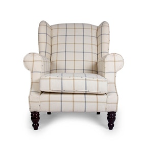 Chartwell Colorado Check Latte Wing Back Armchair