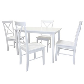 Harper White Dining Table and 4 Chairs Set