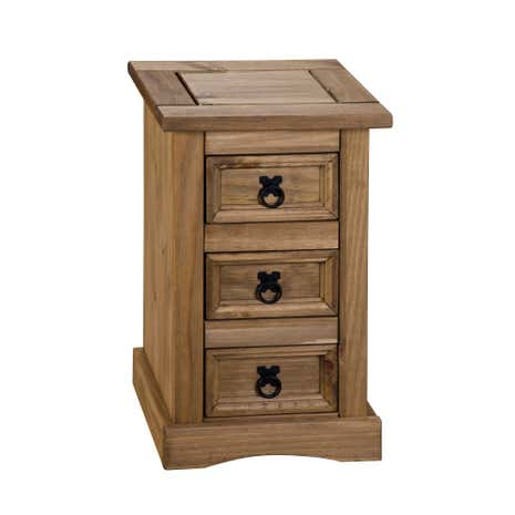 Peru Pine 3 Drawer Bedside Table