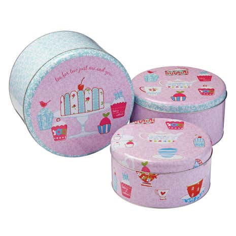 Tea Party Set of 3 Round Cake Tins