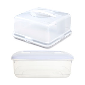 Whitefurze Square Cake Box with 4 Litre Food Storer