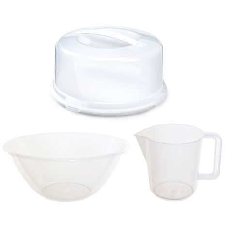 Whitefurze Round Cake Box with 2 Pint Measuring Jug and Mixing Bowl