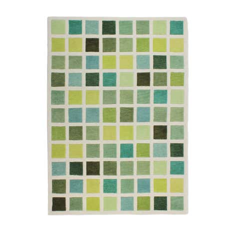 Green Cubism Wool Rug