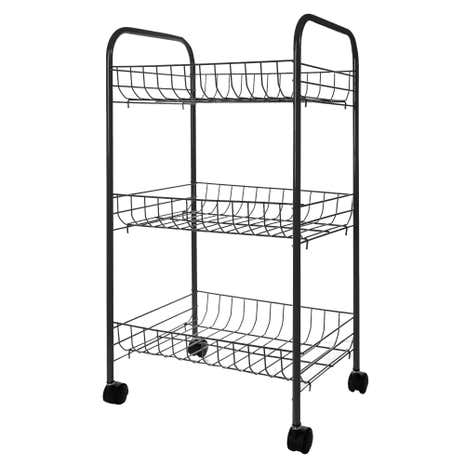 Spectrum 3 Tier Black Veg Trolley
