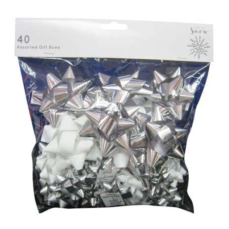 40 Assorted Silver and White Bows