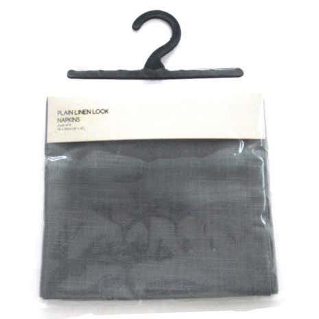 Pack of 4 Charcoal Linen Look Napkins