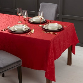 Red Poinsettia Jacquard Tablecloth