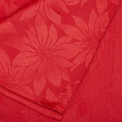 Large Jacquard Poinsettia Red Tablecloth