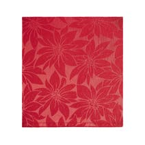 Pack of 4 Red Poinsettia Jacquard Napkins