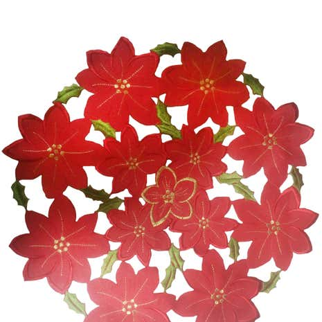 Pack of 2 Red Poinsettia Placemats