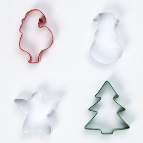 Four Stainless Steel Christmas Cutters