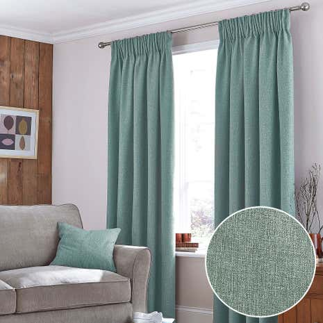 Harris Duck Egg Thermal Pencil Pleat Curtains