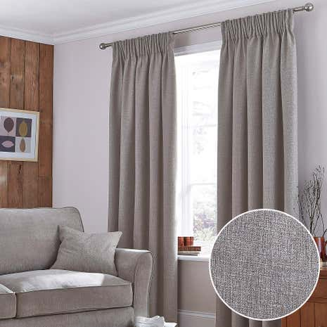 Harris Mink Thermal Pencil Pleat Curtains