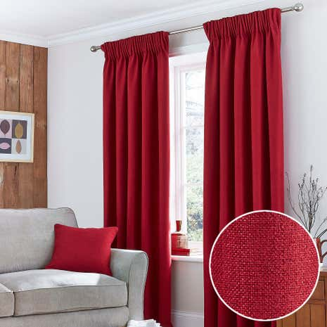 Harris red thermal pencil pleat curtains dunelm for Modern living room curtains uk