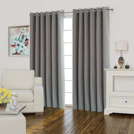 Athena Teal Lined Eyelet Curtains