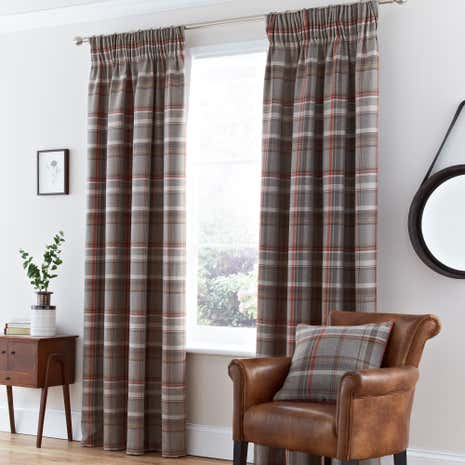 Hoxton Rust Lined Pencil Pleat Curtains