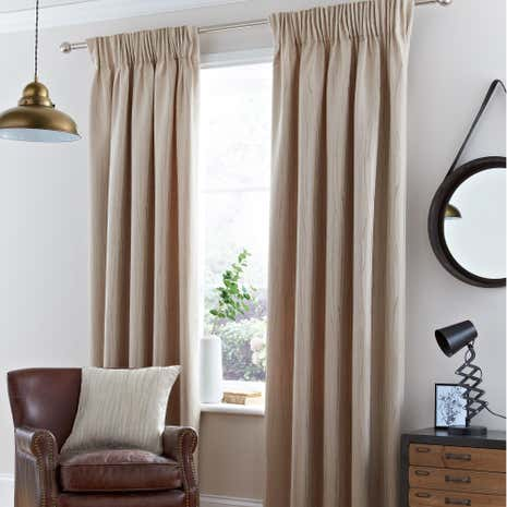 Savannah Natural Lined Pencil Pleat Curtains