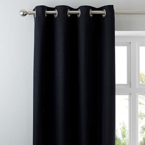 Vermont Black Lined Eyelet Curtains