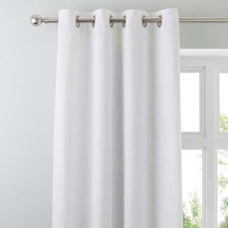 Vermont White Lined Eyelet Curtains
