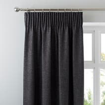 Vermont Charcoal Lined Pencil Pleat Curtains