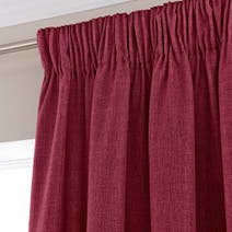 Vermont Red Lined Pencil Pleat Curtains
