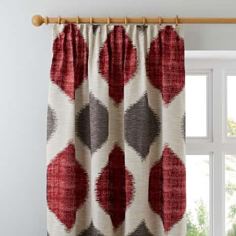 Morocco Red Lined Pencil Pleat Curtains