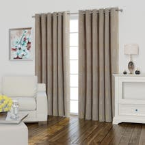 Bradgate Green Lined Eyelet Curtains
