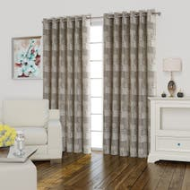 Lucille Natural Lined Eyelet Curtains