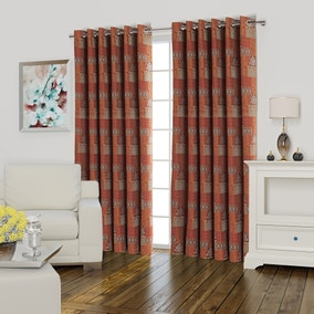 Lucille Red Lined Eyelet Curtains