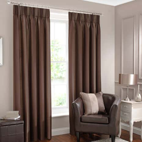 Monaco Chocolate Lined Pencil Pleat Curtains