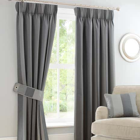 Monaco Pewter Pencil Pleat Curtains