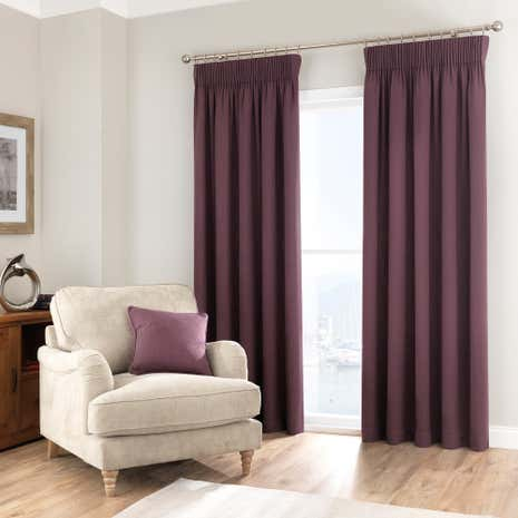 Purity Blackcurrant Pencil Pleat Curtain