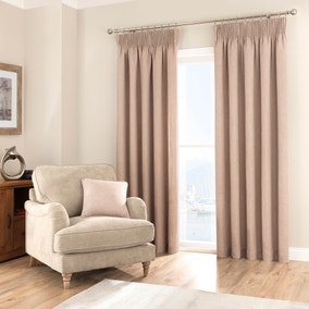 Purity Biscuit Pencil Pleat Curtains