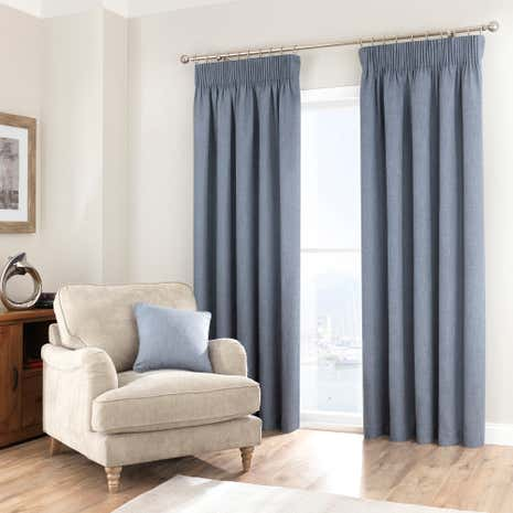 Purity Chambray Pencil Pleat Curtains