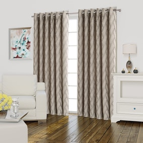 Quebec Grey Lined Eyelet Curtains