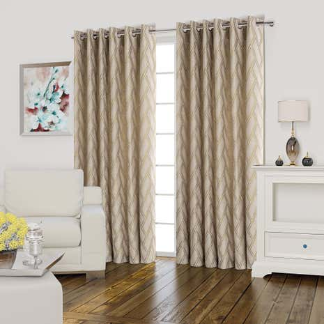 Quebec Ochre Lined Eyelet Curtains